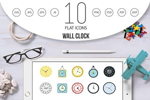 Wall clock icon set, flat style