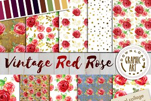 Vintage Red Rose Paper pack