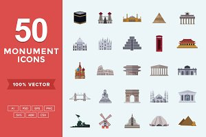 Flat Icons Monuments Set