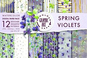 Violets Seamless Pattern