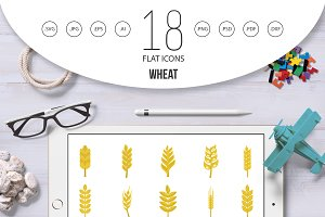 Wheat icon set, flat style