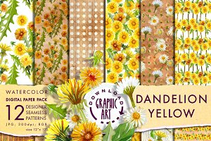 Yallow Dandelion Digital Pattern