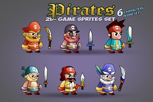 Pirate Game Character Sprites Set