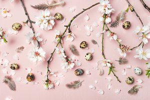 Easter background with eggs, almond flowers and feathers, top view