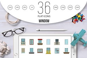Window icon set, flat style