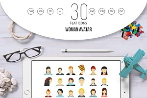 Woman avatar icon set, flat style