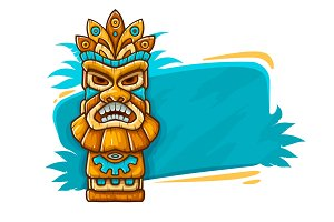 Banner with Tiki ethnic traditional