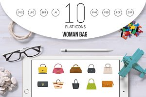 Woman bag icon set, flat style