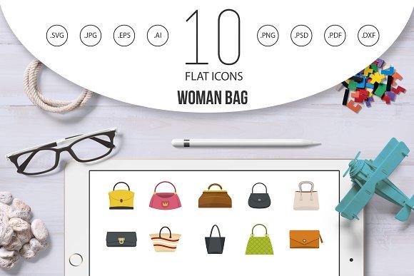 1a30aac767 Woman bag icon set