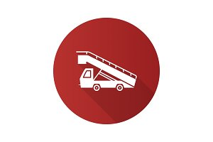 Stair truck flat design long shadow glyph icon