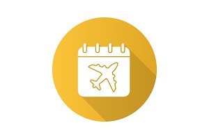 Flight date flat design long shadow glyph icon