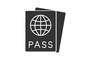 International passport glyph icon