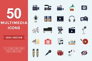 Flat Icons Multimedia Set