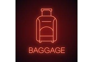 Baggage neon light icon