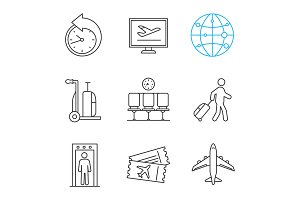 Airport linear icons set