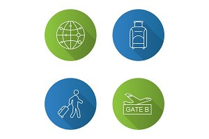 Airport service flat linear long shadow icons set