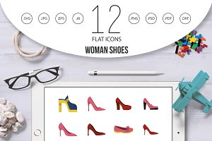 Woman shoes icon set, flat style