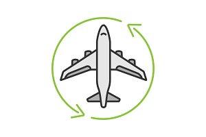 Flight transit color icon