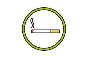 Smoking area sign color icon