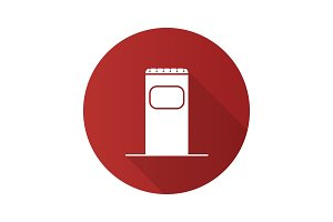 Garbage bin flat design long shadow glyph icon