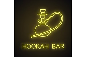 Hookah neon light  icon