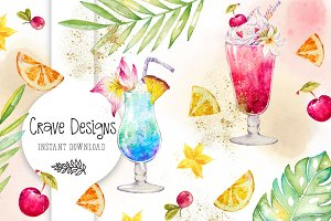 Tropical Drinks Watercolor Clip Art