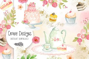 Tea Party Watercolor Set