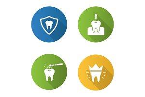 Dentistry flat design long shadow glyph icons set