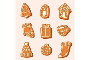 Christmas cake vector sweet desserts food traditional cakes for Xmas dinner and teatime tree, bell, house, sock and penguin illustration