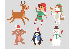 Christmas vector characters cute cartoon Reindeer, Xmas rabbit, Santa dog New Year symbol, elf child boy and penguin individual characteristics illustration
