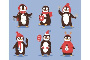 Christmas penguin vector character cartoon cute bird celebrate Xmas playfull happy penguin face smile illustration in santa Red Hat