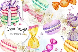 Candy Watercolor Clip Art