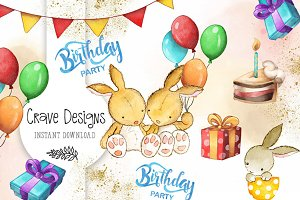 Birthday Party watercolor Clip Art