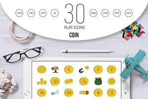 Coin icon set, flat style