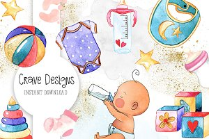 Cute Baby Clip Art Set