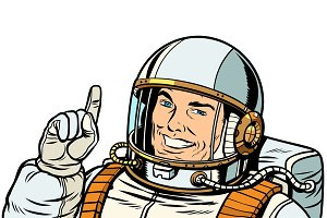 male astronaut pointing up, isolate on white background