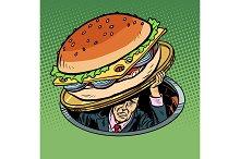 man under fast food burger
