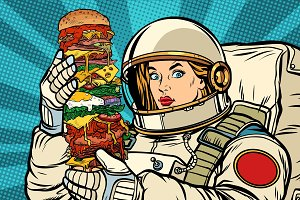 Hungry woman astronaut with giant Burger