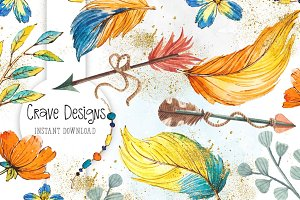Boho Feathers Watercolor Clip Art