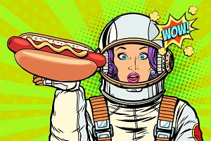 Hungry woman astronaut with hot dog sausage
