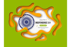 Indian Independence day holiday background. Paper cut shapes with shadow, 3d wheel and halftone effect in traditional tricolor of indian flag. Greeting text, vector illustration.