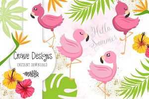 Little Flamingo Clip Art