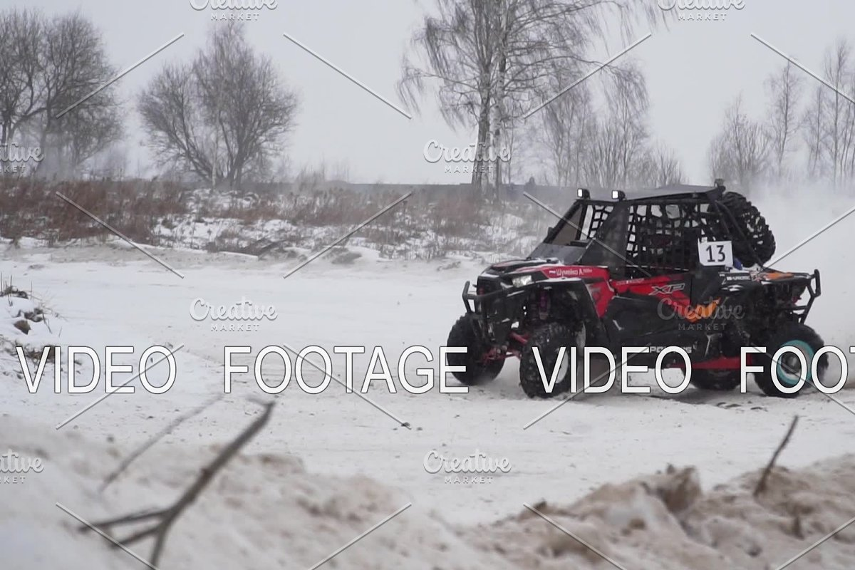 Racing Atv In The Winter Season Sports Competition Russia January 27 2018