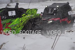 Racing ATV in the winter season. Sports competition Russia, January 27, 2018.