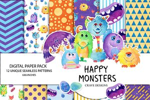Happy Monsters Digital Paper Pack
