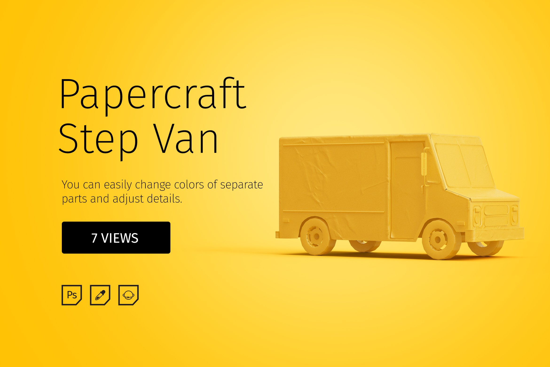 Papercraft Step Van Graphic Objects Creative Market