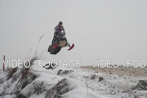 Snowmobile races in the winter season, Russia. Championship on snowmobiles January 27, 2018