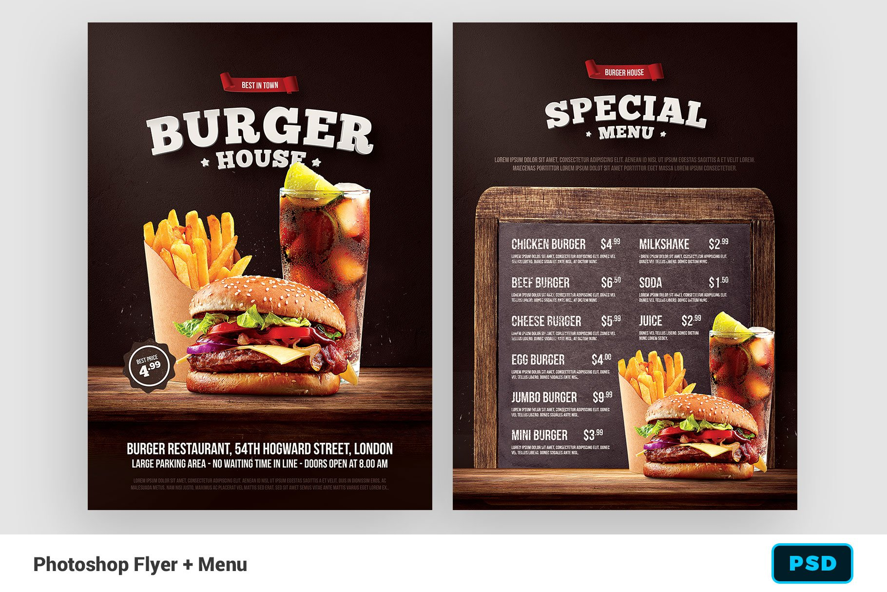 Burger Flyer Menu Flyer Templates Creative Market