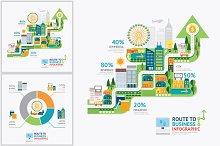 Infographic business arrow shape tem