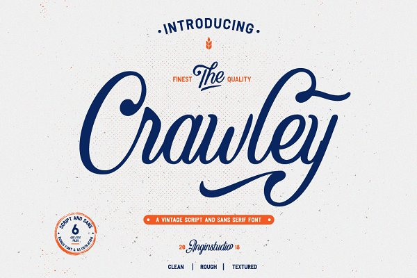 Display Fonts: Angin Studio - The Crawley (6 font with extras)